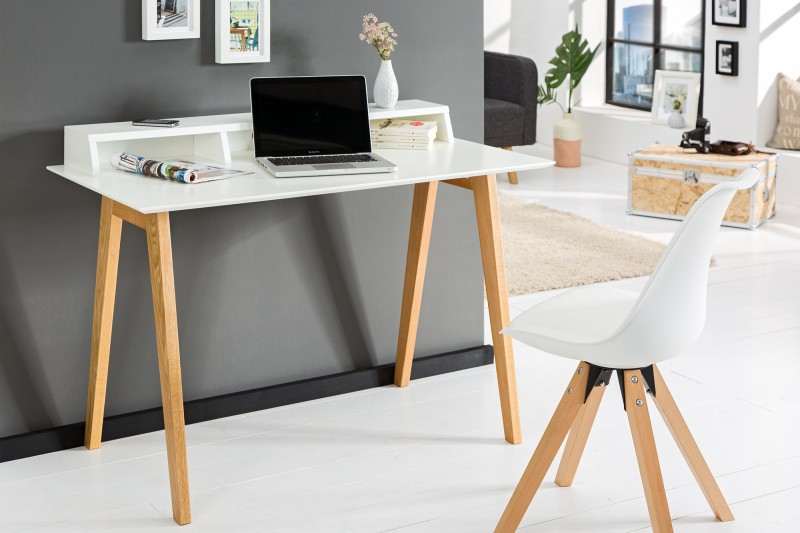 Bureau en bois blanc. affordable cuisine blanc laqu et bois nieuwe